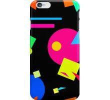 Coloured Retro (Large) Shapes 1980's - Black - 80s 80's 1980s 1980's 1980 Classic Throw Back iPhone Case/Skin