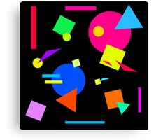 Coloured Retro (Large) Shapes 1980's - Black - 80s 80's 1980s 1980's 1980 Classic Throw Back Canvas Print
