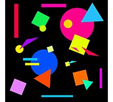 Coloured Retro (Large) Shapes 1980's - Black - 80s 80's 1980s 1980's 1980 Classic Throw Back Photographic Print