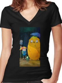 Adventure Time Totoro Women's Fitted V-Neck T-Shirt