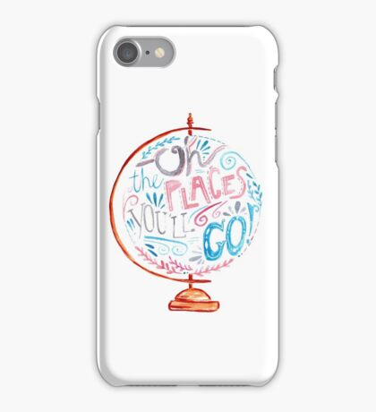Oh The Places You'll Go - Typography Vintage Globe in Pink Blue Grey iPhone Case/Skin