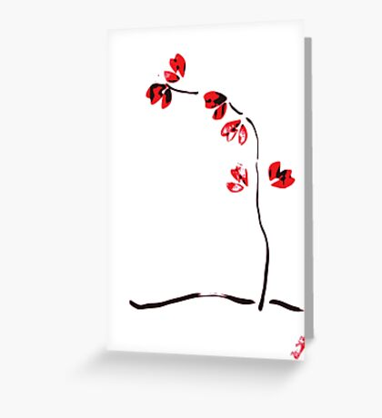 Red flower - ikebana minimalist design Greeting Card