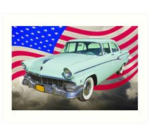 1956 Ford Custom Line Car And US Flag Art Print