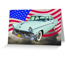 1956 Ford Custom Line Car And US Flag Greeting Card