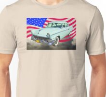 1956 Ford Custom Line Car And US Flag Unisex T-Shirt