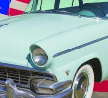 1956 Ford Custom Line Car And US Flag Sticker