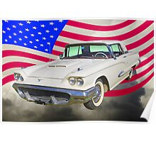 1958  Ford Thunderbird With American Flag Poster