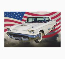 1958  Ford Thunderbird With American Flag One Piece - Long Sleeve