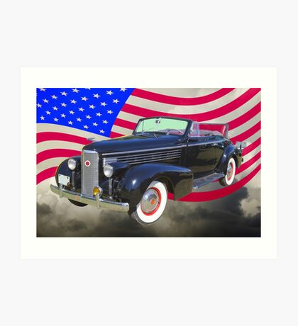Black 1938 Cadillac Lasalle With United States Flag Art Print