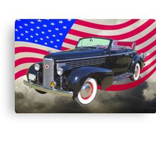Black 1938 Cadillac Lasalle With United States Flag Canvas Print
