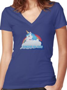 Central Intelligence - Unicorn (Not Faded) Women's Fitted V-Neck T-Shirt
