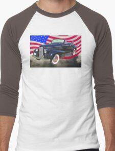 Black 1938 Cadillac Lasalle With United States Flag Men's Baseball ¾ T-Shirt