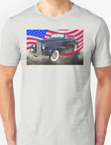 Black 1938 Cadillac Lasalle With United States Flag T-Shirt