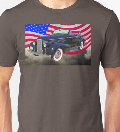 Black 1938 Cadillac Lasalle With United States Flag Unisex T-Shirt