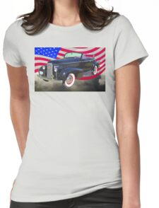 Black 1938 Cadillac Lasalle With United States Flag Womens Fitted T-Shirt