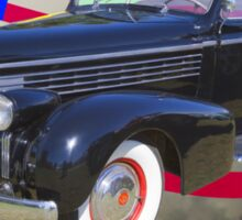 Black 1938 Cadillac Lasalle With United States Flag Sticker