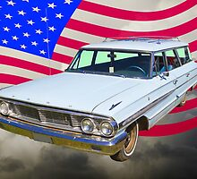 1964 Ford Galaxy Station Wagon And American Flag by KWJphotoart