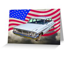 1964 Ford Galaxy Station Wagon And American Flag Greeting Card