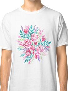 Pink Tea Rose Bouquet - Watercolor Illustration Classic T-Shirt