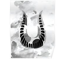 Letter U Alphabet Abstract Watercolour Textured Poster