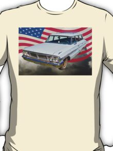 1964 Ford Galaxy Station Wagon And American Flag T-Shirt