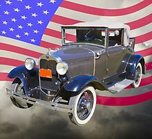 Model A Ford Roadster With American Flag by KWJphotoart