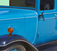 1929 Blue Chevy Truck And American Flag Sticker
