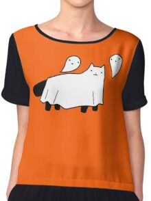 Blanket Ghost Black Cat Chiffon Top