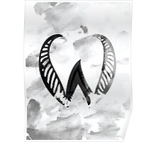 Letter W Alphabet Abstract Watercolour Textured Poster