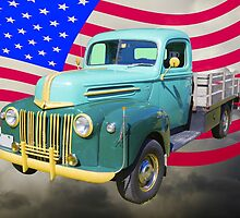 Old Flat Bed Ford Work Truck And American Flag by KWJphotoart