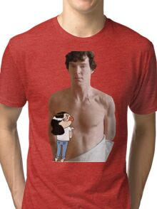 Sherlock - fangirl licking Benedict Cumberbatch Tri-blend T-Shirt