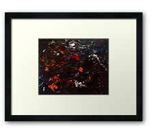 Abstract Purple Orange Red Blue Drip Painting Acrylic On Canvas Board Framed Print