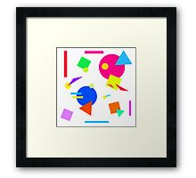 Coloured Retro (Large) Shapes 1980's - White - 80s 80's 1980s 1980's 1980 Classic Throw Back Framed Print