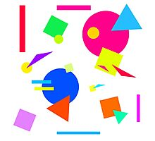 Coloured Retro (Large) Shapes 1980's - White - 80s 80's 1980s 1980's 1980 Classic Throw Back Photographic Print