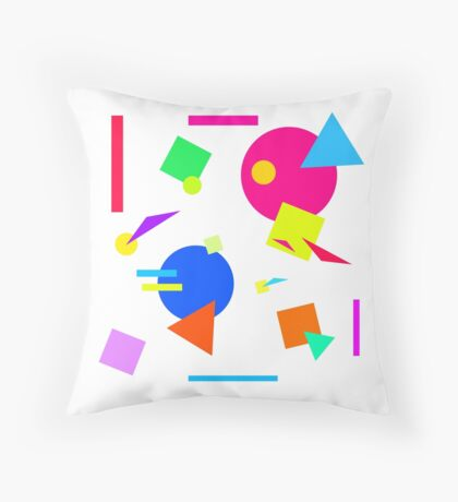 Coloured Retro (Large) Shapes 1980's - White - 80s 80's 1980s 1980's 1980 Classic Throw Back Throw Pillow