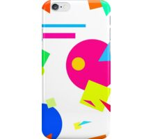 Coloured Retro (Large) Shapes 1980's - White - 80s 80's 1980s 1980's 1980 Classic Throw Back iPhone Case/Skin