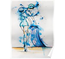 Octopus & Bather Woman Poster