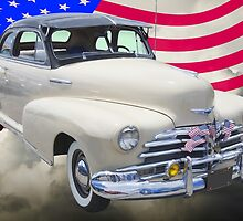 1948 Chevrolet Fleetmaster Car With American Flag by KWJphotoart