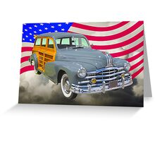 1948 Pontiac Silver Streak Woody And American Flag Greeting Card