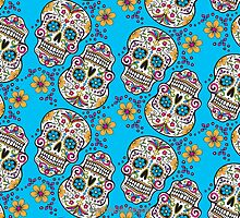 Sugar Skull Halloween, Day Of The Day BLUE by Carolina Swagger