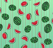 Sliced and Whole Watermelon Pattern by ArtsyRosey