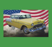 Yellow 1955 Chevrolet Bel Air And American Flag Kids Clothes