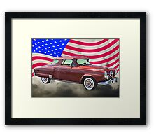 Studebaker Champian Antique Car And American Flag Framed Print
