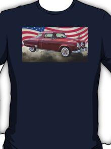 Studebaker Champian Antique Car And American Flag T-Shirt
