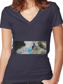 TAKING A DIP Women's Fitted V-Neck T-Shirt