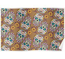 Sugar Skull Halloween, Day Of The Day TAN Poster