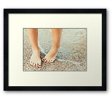 Girl With Hydrophobia (Fears Of Water) On The Beach Framed Print