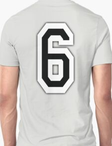 6, TEAM SPORTS, NUMBER 6, SIX, SIXTH, Competition, White on Black Unisex T-Shirt