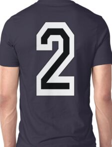 2, TEAM SPORTS, NUMBER 2, TWO, SECOND, Competition, White on Black Unisex T-Shirt