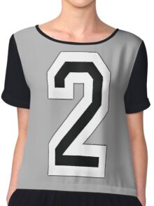 2, TEAM SPORTS, NUMBER 2, TWO, SECOND, Competition, White on Black Chiffon Top